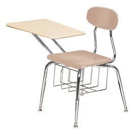 "580 Series Solid Plastic Chair Desk - Solid Plastic Top (17 1/2"" Seat Height) - Beige seat"
