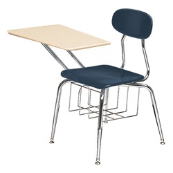 "580 Series Solid Plastic Chair Desk - Solid Plastic Top (17 1/2"" Seat Height) - Blue seat"