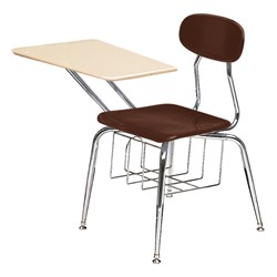 "580 Series Solid Plastic Chair Desk - Solid Plastic Top (17 1/2"" Seat Height) - Brown seat"