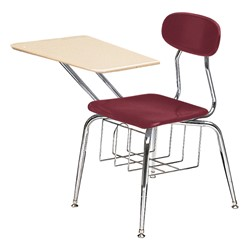 "580 Series Solid Plastic Chair Desk - Solid Plastic Top (17 1/2"" Seat Height) - Burgundy seat"