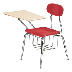 "580 Series Solid Plastic Chair Desk - Solid Plastic Top (17 1/2"" Seat Height) - Cranberry seat"