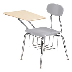 "580 Series Solid Plastic Chair Desk - Solid Plastic Top (17 1/2"" Seat Height) - Light gray seat"