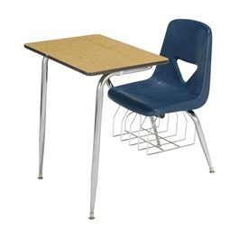 620 Series Polyethylene Shell Combo Desk - Fiberboard Top - Light oak top w/ navy seat