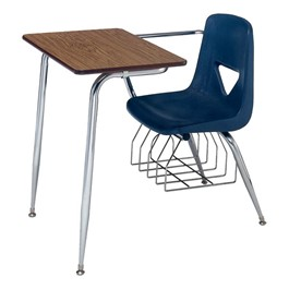 """620 Series Combo Desk w/ Extra-Large Poly Seat - Fiberboard Top (18 1/2\"""" Seat Height) - Fiberboard Top - Pecan Top w/ Navy Seat"""