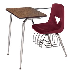 """620 Series Combo Desk w/ Extra-Large Poly Seat - Solid Plastic Top (18 1/2"""" Seat Height) - Solid Plastic Top - Burgundy Seat"""