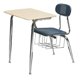 680 Series Combo School Desk - Shown w/ solid plastic top & blue seat & back (w/ bookbasket)