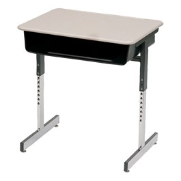 7800 Series Open Front Desk w/ Metal Book Box - Shown w/ Solid Plastic Top