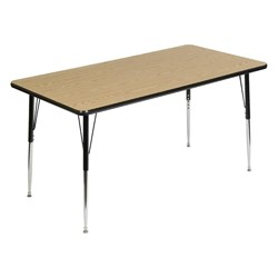 Rectangle 849 Series Activity Table - Light oak top w/ black edge band