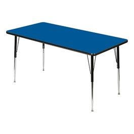 Rectangle 849 Series Activity Table - Blue top w/ black edge band