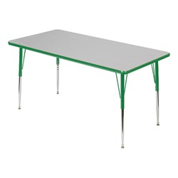 Rectangle 849 Series Activity Table - Gray glace top w/ green edge band