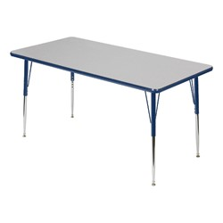 Rectangle 849 Series Activity Table - Gray glace top w/ navy edge band