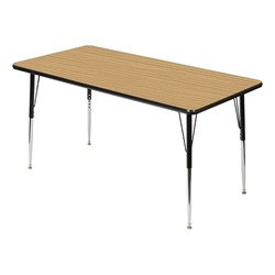 Rectangle 849 Series Activity Table - Pecan top w/ black edge band