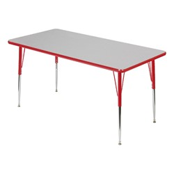 Rectangle 849 Series Activity Table - Gray glace top w/ red edge band