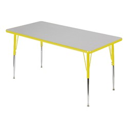 Rectangle 849 Series Activity Table - Gray glace top w/ yellow edge band