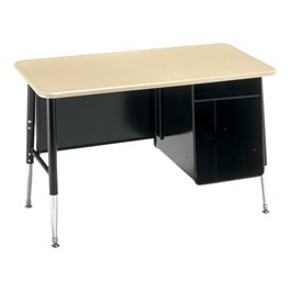 1560 Series Master Scholar Desk w/ Metal Book Box - Solid Plastic Top