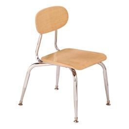 180 Series Solid Plastic Wood Grain School Chair - Maple