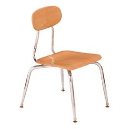 180 Series Solid Plastic Wood Grain School Chair - Light Oak