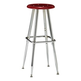 300 Series Solid Plastic Stool – Adjustable Height - Burgundy seat