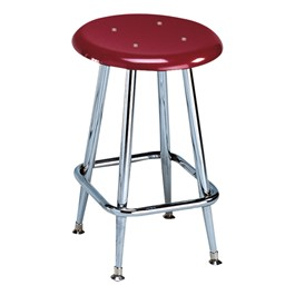"""300 Series Solid Plastic Stool – Fixed Height (18\"""" H) - Burgundy seat"""