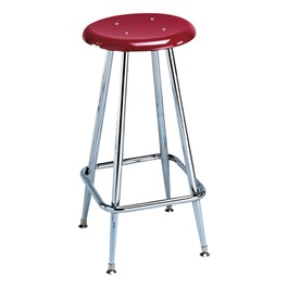 """300 Series Solid Plastic Stool – Fixed Height (24\"""" H) - Burgundy seat"""