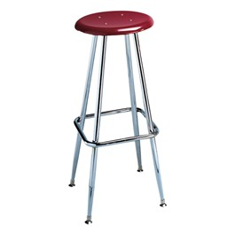 """300 Series Solid Plastic Stool – Fixed Height (30\"""" H) - Burgundy seat"""