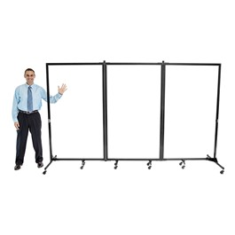 """6\' 2\"""" H Clear Portable Room Partition - Three Panels (10\' L)"""