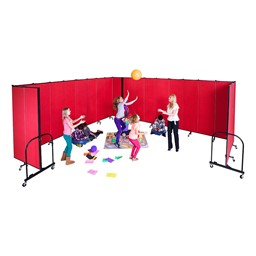 "6' 8"" H Freestanding Portable Partition - 11 Panels (20' 5"" L)"