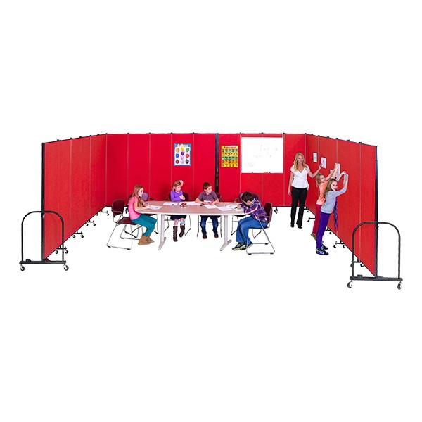 """6' H Freestanding Portable Partition - 11 Panels (20' 5"""" L) - Multiple units shown"""