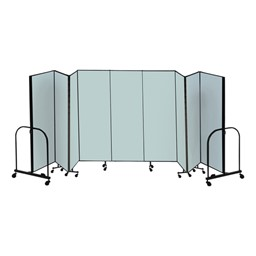 "6' H Freestanding Portable Partition - Nine Panels (16' 9"" L) - Summer Blue fabric"