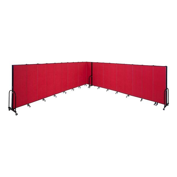 """7' 4"""" H Freestanding Portable Partition - Seven Panels (13' 1"""" L) - Multiple units shown"""