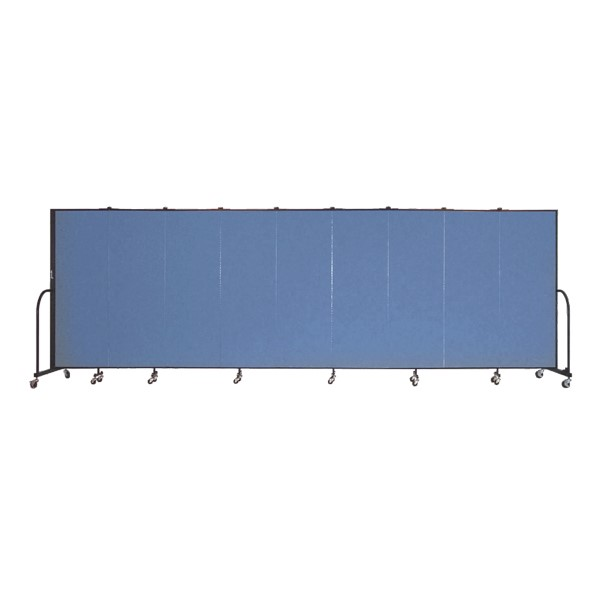 """6' H Freestanding Portable Partition - Nine Panels (16' 9"""" L) - Primary Blue fabric"""