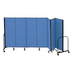 """7' 4"""" H Freestanding Portable Partition - Seven Panels (13' 1"""" L)"""