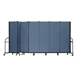 "6\' H Heavy-Duty Freestanding Portable Partition - Seven Panels (13\' 1"" L)"