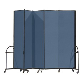 "7\' 4"" H Heavy-Duty Freestanding Portable Partition - Five Panels (9\' 5\"" L)"