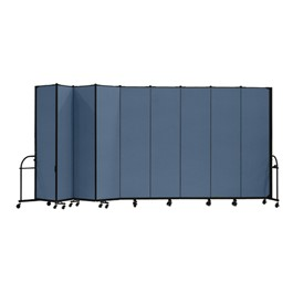 "7\' 4"" H Heavy-Duty Freestanding Portable Partition - Nine Panels (16\' 9\"" L)"