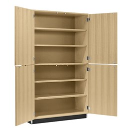 "Tall Storage Cabinet w/ Four Wood Doors (48"" W x 22\"" D x 84\"" H) - Open view"