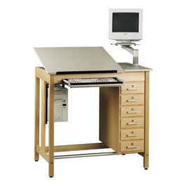 CAD Drawing Table with Six Drawers