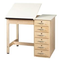 Split Top Drafting Table W Drawer Base