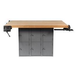 Four-Station Workbench w/ 12 Lockers & Four Vises