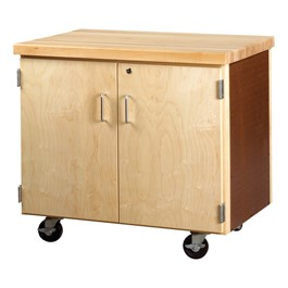 Mobile Storage Cabinet w/ Butcher Block Top