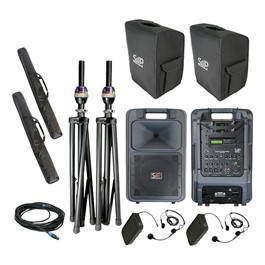 Sound Machine Portable PA System - Deluxe Dual Wireless Package (Two Headset Mics) w/ Companion Speaker
