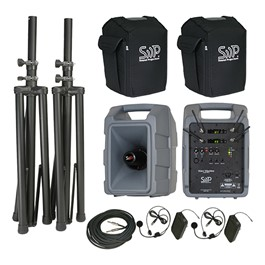 Voice Machine Portable PA System - Deluxe Dual Wireless Package (Two Headset Mics) w/ Companion Speaker