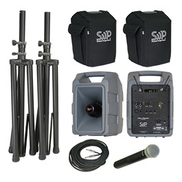 Voice Machine Portable PA System - Deluxe Wireless Package (Wireless Handheld Mic & Companion Speaker)