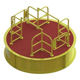 Wheelchair Accessible Merry Go Round - Red Deck w/ Yellow Rails