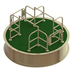 Wheelchair Accessible Merry Go Round - Green Deck w/ Tan Rails