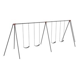 Primary Tripod Swing Set - 10\' H Top Rail - Four Seats (Two Bays)