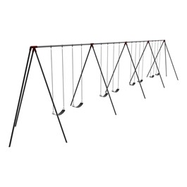 Primary Tripod Swing Set - 12\' H Top Rail - Eight Seats (Four Bays)
