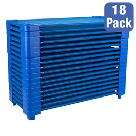"Blue Stackable Daycare Cot - Standard (52"" L) - Pack of 18 Cots - Stacked Cots"