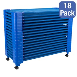 """Blue Stackable Daycare Cot - Toddler (40\"""" L) - Pack of 18 Cots w/ Set of Four Casters - Stacked"""
