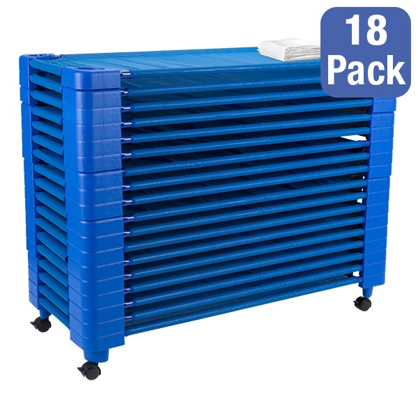 """Blue Stackable Daycare Cot w/ Cot Sheet - Standard (52"""" L) - Pack of 18 Cots w/ Set of Four Casters - Stacked Cots"""